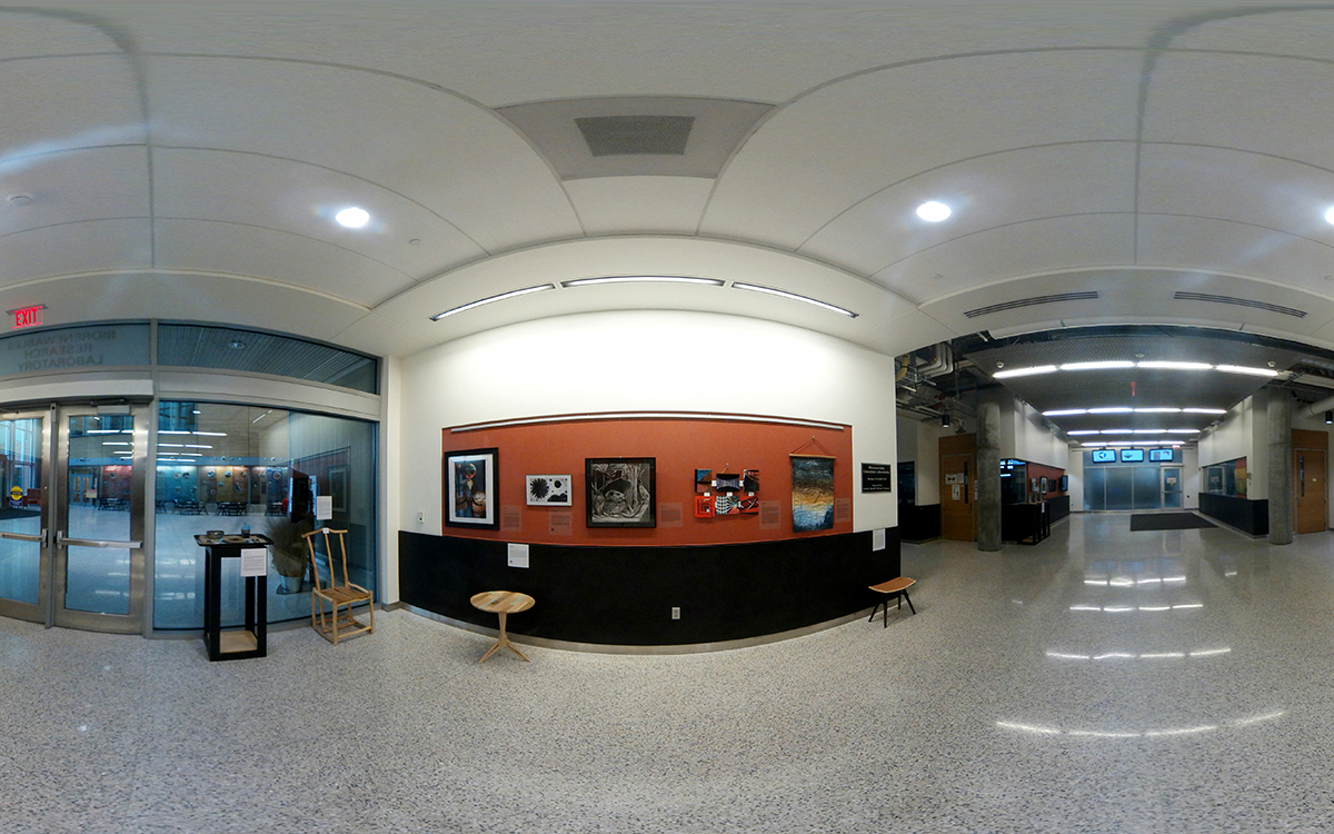 [PHOTO]A 360 degree image of the BRL lobby, showing the artwork on display.