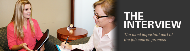 The interview: the most important part of the job search process. Image shows a student being interviewed.