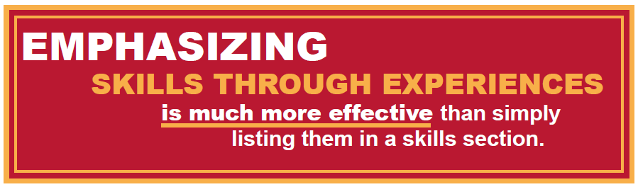 Emphasizing skills through experiences is much more effective than simply listing them in a skills section.