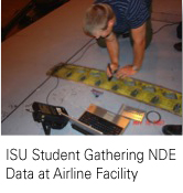 ISU student gathering NDE data at airline facility