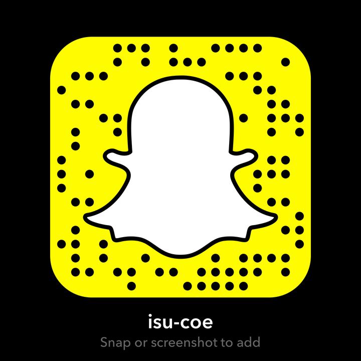 find us on SnapChat: isu-coe