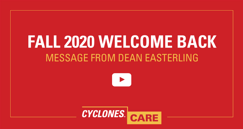 Fall 2020 Welcome back message from Dean Easterling