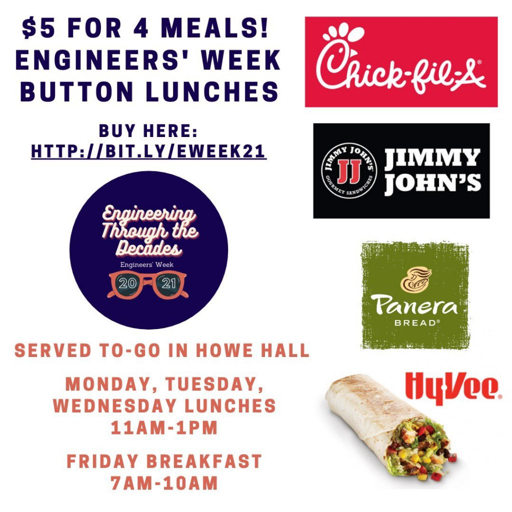 $5 for 4 meals! Engineers' Week Button Lunches