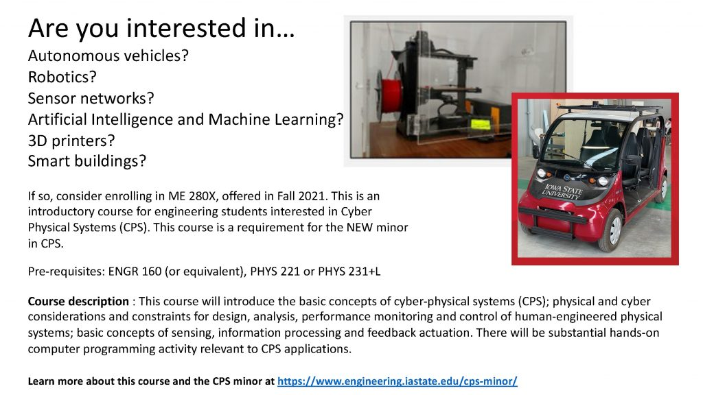 Flyer with information for ME 280X course