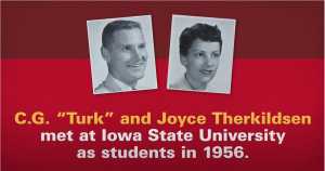 A graphic that includes senior photos from ISU alums Turk and Joyce Therkildsen