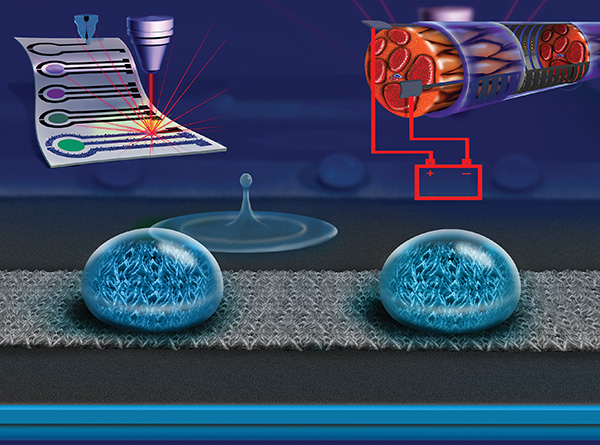 treating printed graphene with lasers to create electronic circuits that repel water