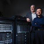 Doug Jacobson, University Professor of electrical and computer engineering, left, and Daji Qiao, associate professor of electrical and computer engineering