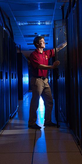 student in data server room