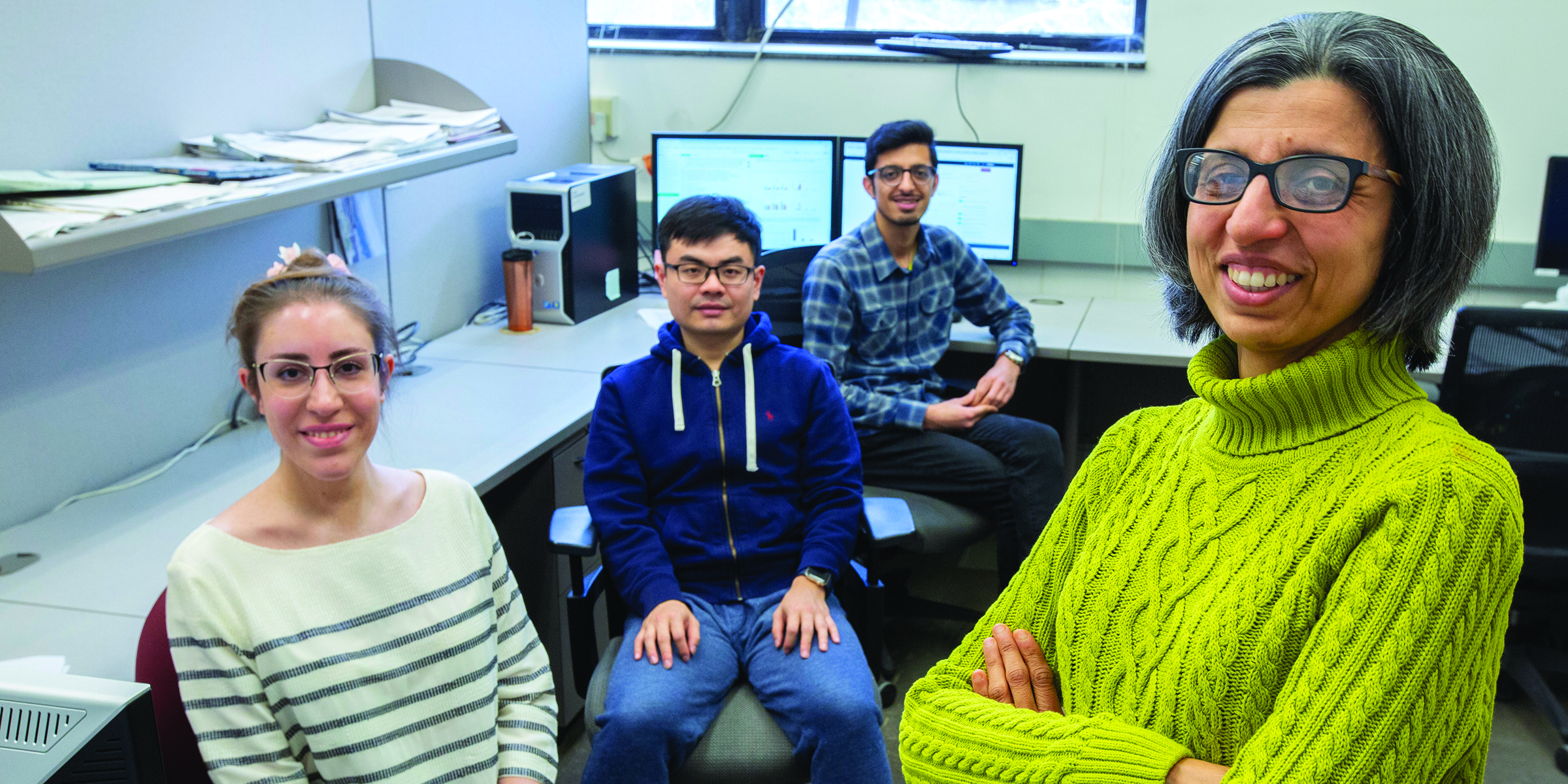 Seyedehsara Nayer, Han Guo and Vahid Daneshpajooh, all graduate students in electrical and computer engineering, and Namrata Vaswani, professor of electrical and computer engineering