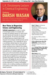 Darsh Wasan: L.K. Doraiswamy Honor Lectureship Series